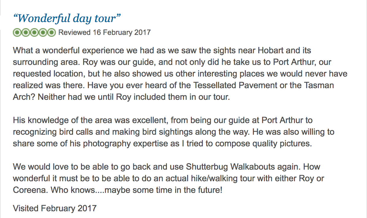 TripAdvisor review for Shutterbug Walkabouts by Sally L - Feb 2017