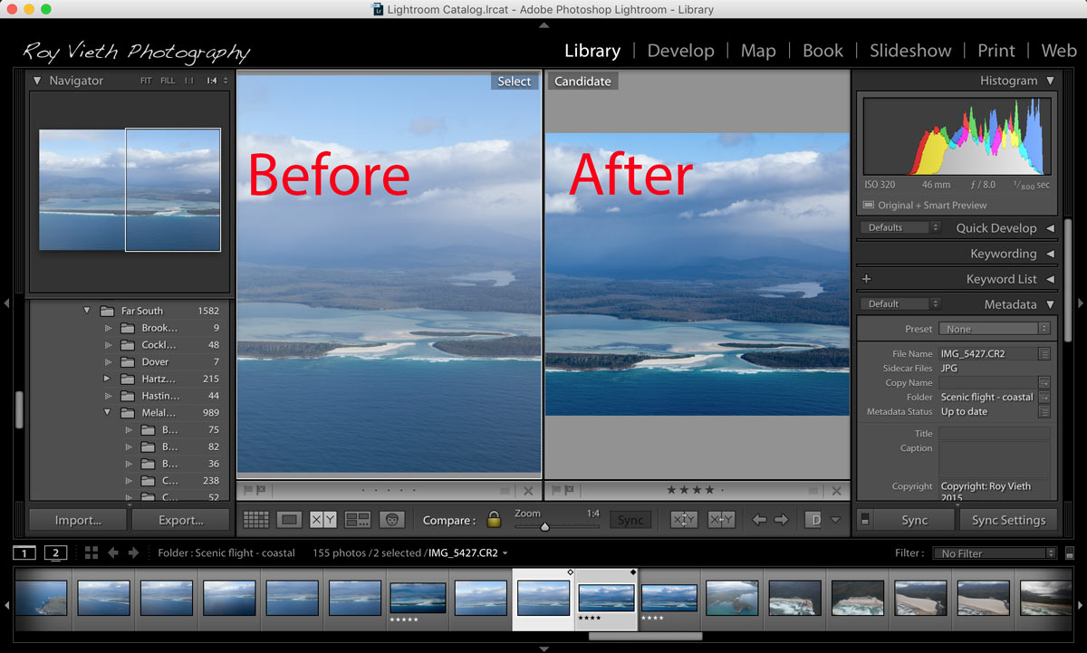 Lightroom Tutorial - before and after screen capture