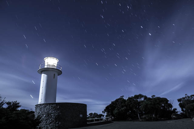 Cape Tourville lighthouse on a windy night