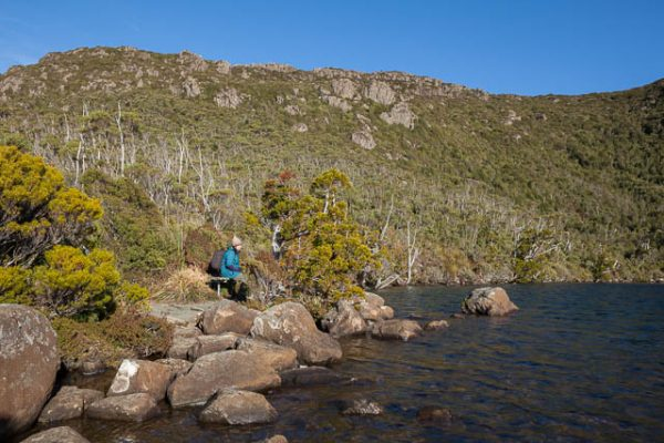 On the banks of Lake Osborne, Hartz Mountains National Park, Tasmania - on tour with Shutterbug Walkabouts