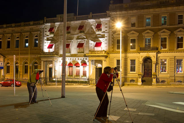 Photographers participating in Hobart night photography workshop with Shutterbug Walkabouts
