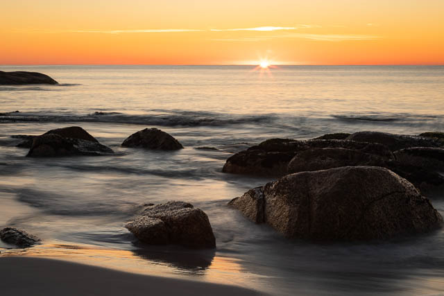 Sunrise at Bay of Fires in Tasmania - a sample of what you may capture on a photography weekend with Shutterbug Walkabouts