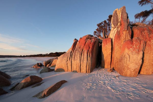 Morning light on Bay of Fires in Tasmania.