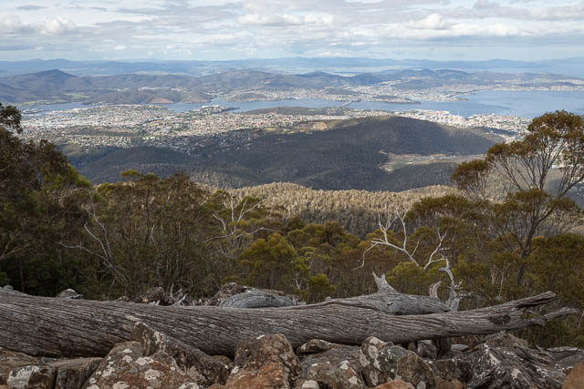 Panoramic view over Hobart, the Derwent River and surrounds - from the eastern slopes of Mt Wellington, Hobart, Tasmania
