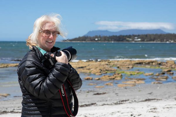 Photographer on photo-oriented tour to Tasmania's east coast with Shutterbug Walkabouts
