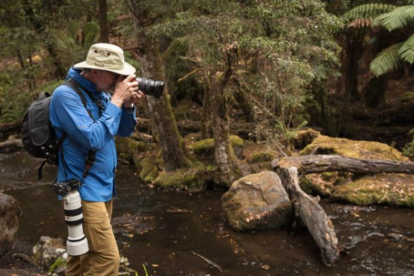 Photographer on a photo-oriented day tour to Mt Field National Park with Shutterbug Walkabouts, Tasmania