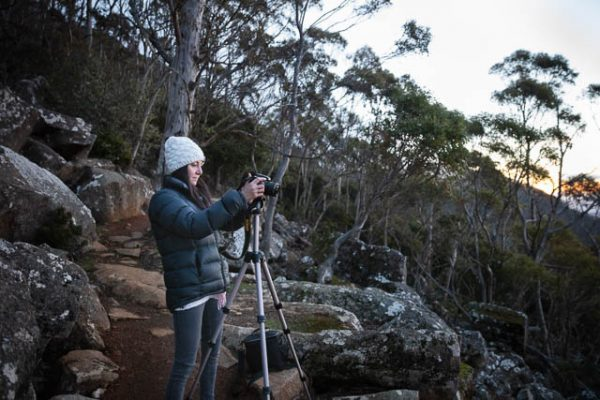 Photographer on a photography tuition-focused experience on Mt Wellington with Shutterbug Walkabouts, Tasmania