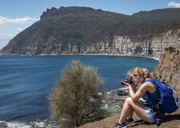 Photographer on photo-oriented tour to Maria Island with Shutterbug Walkabouts, Tasmania