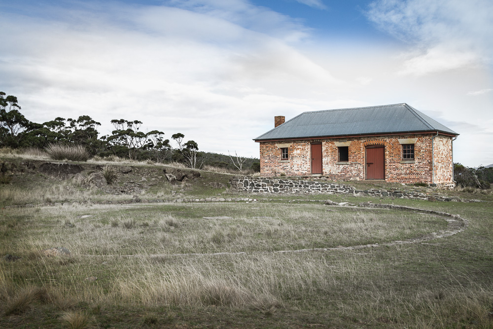 One of a number of historic buildings on Maria Island