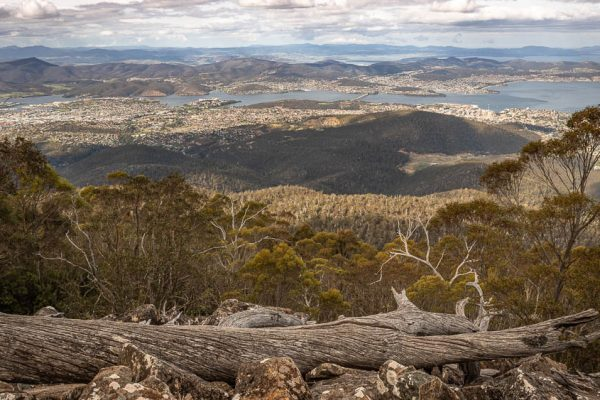 Panoramic view over Hobart from kunanyi/Mt Wellington