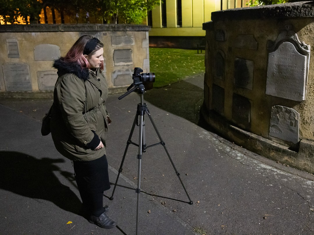 Exploring the challenges and opportunities for night photography...   Over the weekend Katie joined Roy for a Night Photography Walkabout along Hobart's Waterfront. Under the lights of the night, they entered St David's Park where Katie photographed the fascinating and historic